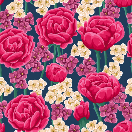 bright: Floral pattern with bright pink roses and small white and magenta flowers.