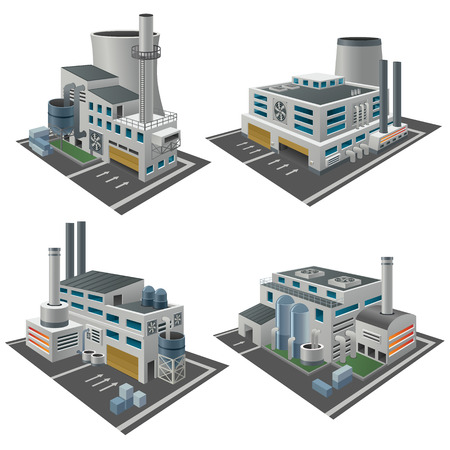 Set of perspective factories, plants and other industrial area objects