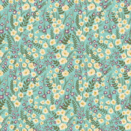 Floral seamless pattern with small flowers and leafs
