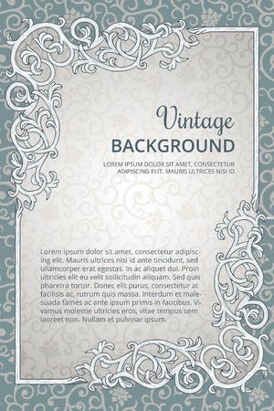 Vintage background with detailed flourish rectangle frame
