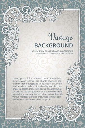 Vintage achtergrond met gedetailleerde bloeien rechthoekframe