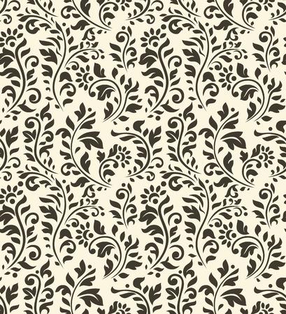 花と繁栄の他の要素を持つヴィンテージのシームレスなパターン  イラスト・ベクター素材