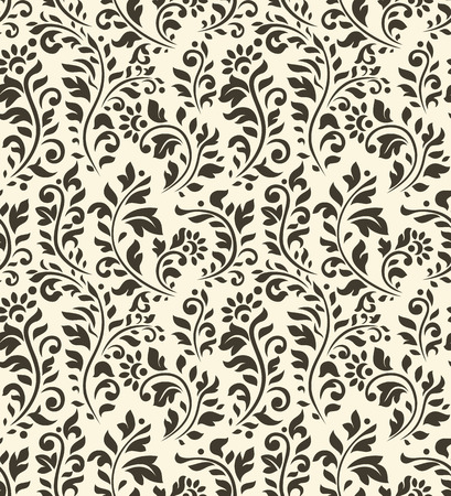 Vintage seamless pattern with flowers and other flourish elements
