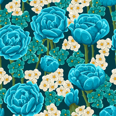 Floral seamless pattern with blue roses and small blue and beige flowers Stock Illustratie