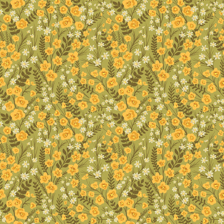 Floral seamless pattern with lot of small flowers and leaves