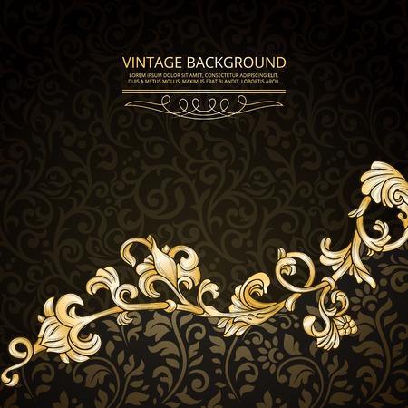 gold textured background: Vintage background with floral border element