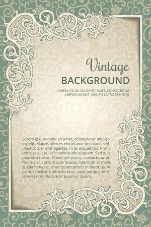 grey backgrounds: Fondo de la vendimia con el marco de floreo
