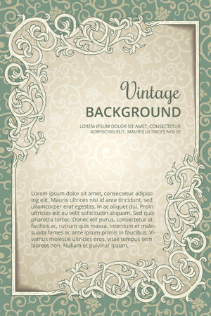 Vintage  background with flourish frame Ilustracja