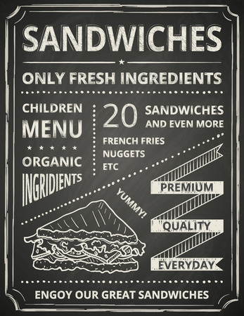 Sandwich poster on blackboard. Stylized like chalk draw. Vector