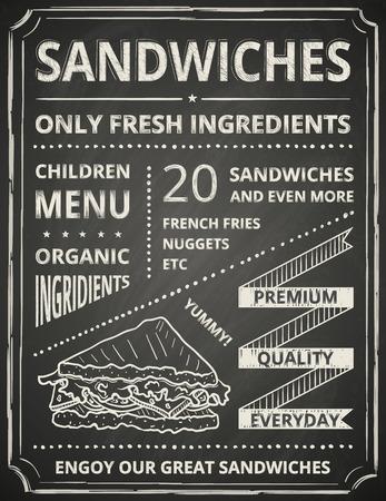 sandwiches: Sandwich poster on blackboard. Stylized like chalk draw.