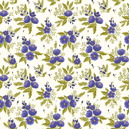 seamless: Floral seamless pattern on white beige background