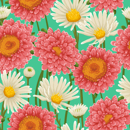 Floral pattern with chamomiles and other flowers Vector