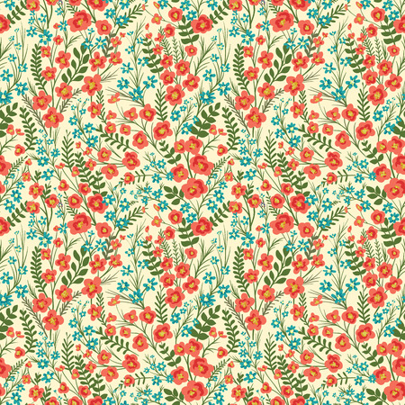 Floral seamless pattern with lot of small flowers and leaves. Vector