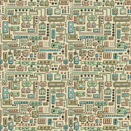 electrical appliances: Seamless pattern with some kind of electrical appliances in color