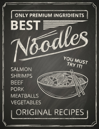 Noodles poster on chalkboard stylized like chalk drawing. Vector