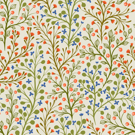 Floral seamless pattern with different small flowers and berries.