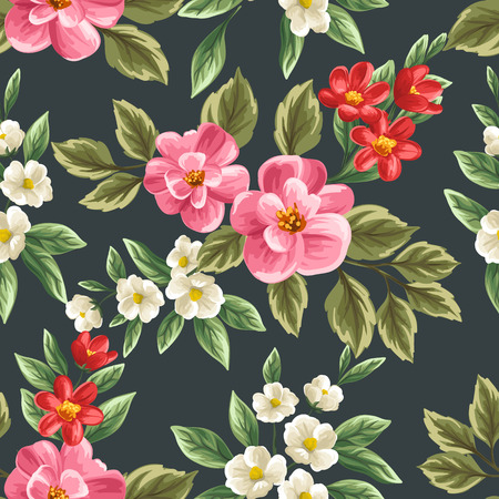 Floral seamless pattern with pink, white and red flowers and leaves on dark background.