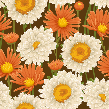 chamomile flower: Floral pattern with white and orange flowers Illustration