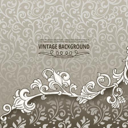 Vintage achtergrond met florale grens element Stock Illustratie