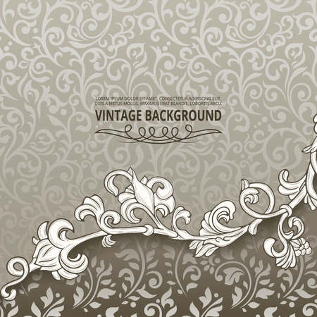 swirl background: Vintage background with floral border element