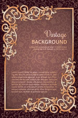 ornate swirls: Vintage flourish golden frame on dark wine background Illustration