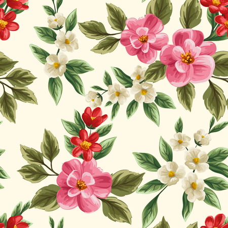 Floral seamless pattern with pink, white and red flowers and leaves on beige background. Ilustração