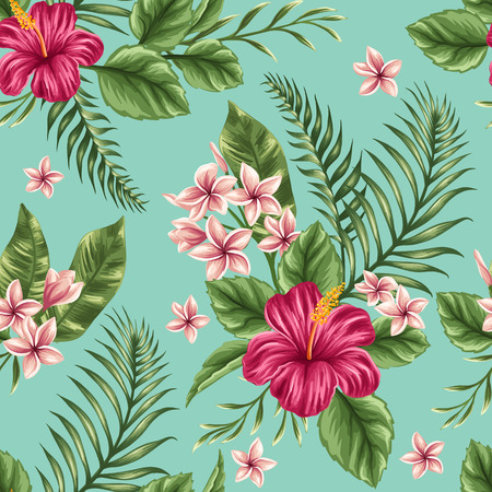 floral backgrounds: Tropical floral seamless pattern with plumeria and hibiscus flowers