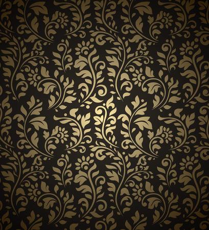 Modelo inconsútil de la vendimia de oro con gran cantidad de elementos del flourish detalladas sobre fondo negro. Foto de archivo - 36911092