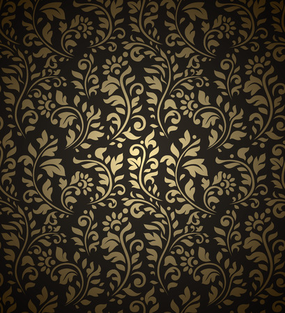 Golden vintage seamless pattern with lot of detailed flourish elements on black background.