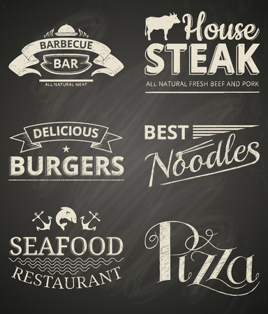 Collection of food restaurant labels on blackboard.