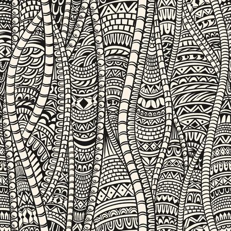dessin noir et blanc: Abstract seamless pattern dans un style ethnique. Zentangle.