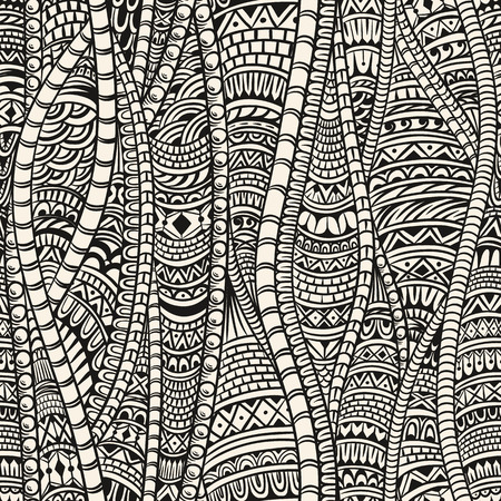 white textured paper: Abstract seamless pattern in ethnic style. Zentangle.