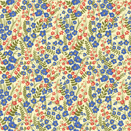 textiles: Floral seamless pattern with lot of small flowers and leaves.