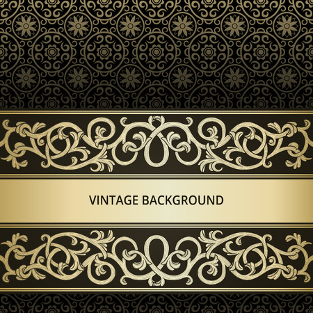 Vintage background with golden flourish element Vector