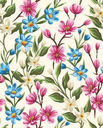 Floral seamless pattern with gentle spring pink, beige and blue flowers Stock Illustratie