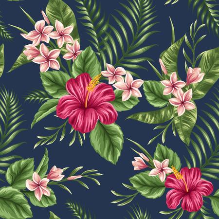 熱帯: プルメリアとハイビスカスの花を持つ熱帯花のシームレスなパターン