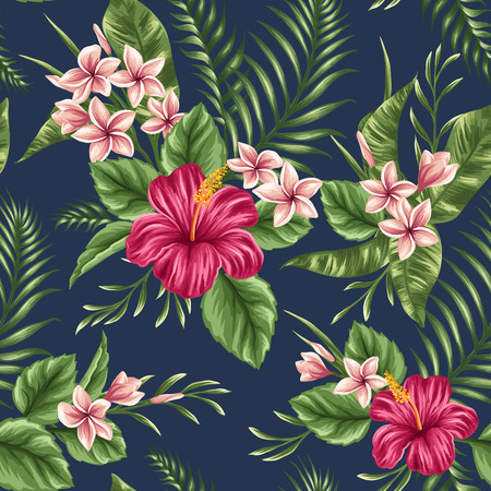 playas tropicales: Tropical Modelo incons�til floral con plumeria y flores de hibisco Vectores