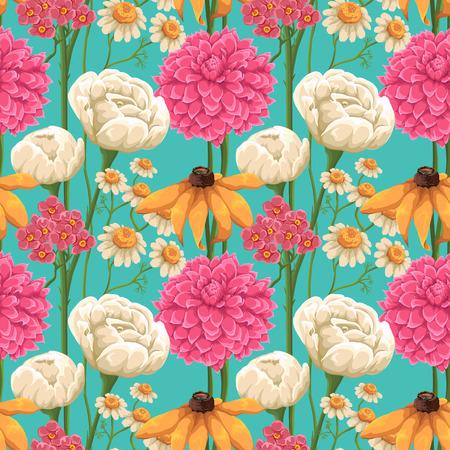 バラ、鎮静や他の花で花のシームレス パターン
