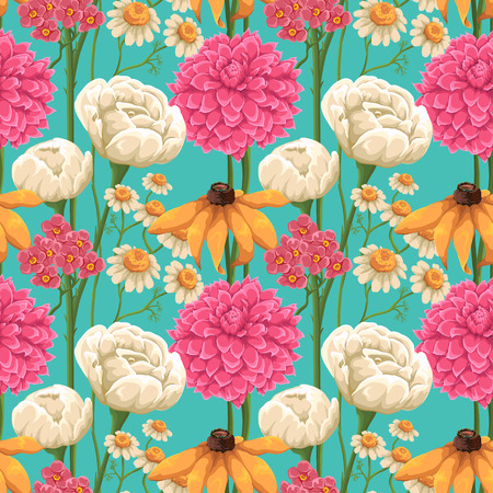 Floral seamless patterns with roses, chamomiles and other flowers Stock Illustratie