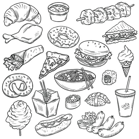 Collection of fast food sketches Фото со стока - 37616540