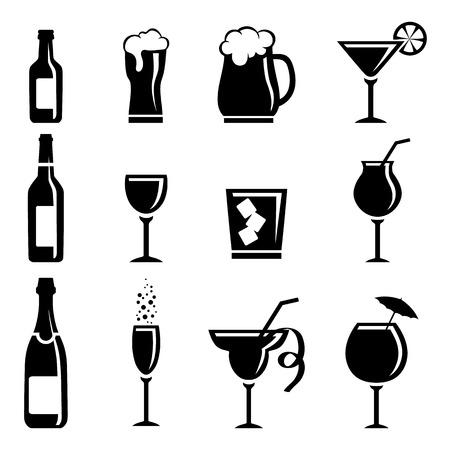 botella de whisky: Colección de iconos de bebidas aisladas sobre fondo blanco