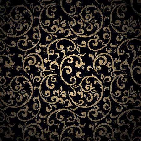 Modelo inconsútil de la vendimia de oro con gran cantidad de elementos del flourish detalladas sobre fondo negro. Foto de archivo - 37708607