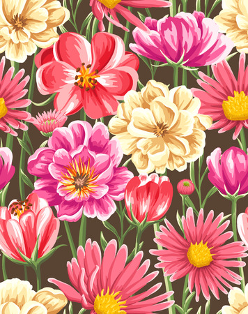 Spring seamless pattern with bright flowers on brown background