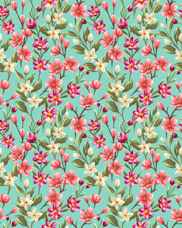 petal: Floral seamless pattern with spring pink, beige and red flowers Illustration