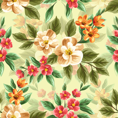 Floral seamless pattern with pink, white and red flowers and leaves on blue background. Stock Vector - 37708648