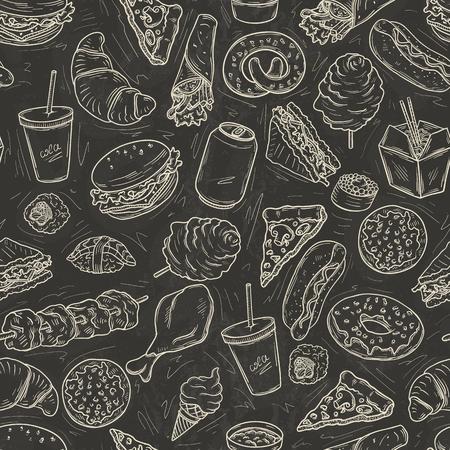 Seamless pattern with lot of fast food on blackboard Illustration