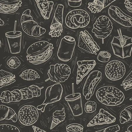 Seamless pattern with lot of fast food on blackboard Ilustracja