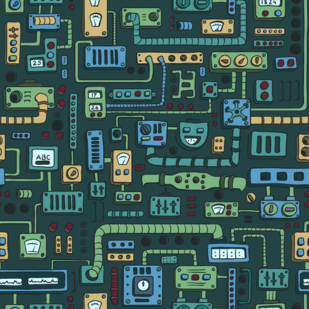 selector: Seamless pattern with some kind of electrical appliances in color