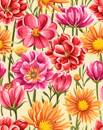 Bright and colorful seamless pattern with different flowers in watercolor style