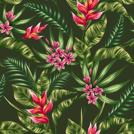 plumeria: Tropical floral seamless pattern with plumeria and heliconia flowers in watercolor style